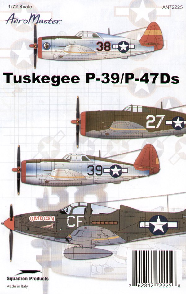 Tuskegee P-39 and P-47Ds ( 4) P-39Q 43028/CF 100th FS `Quanto Costa'; P-47D Razorbacks No 27 2nd Lt Lloyd Hathcock 301st FS; Black 38; Black 39 1st Lt Gwynne Pierson 302nd FS. All Italy 1944