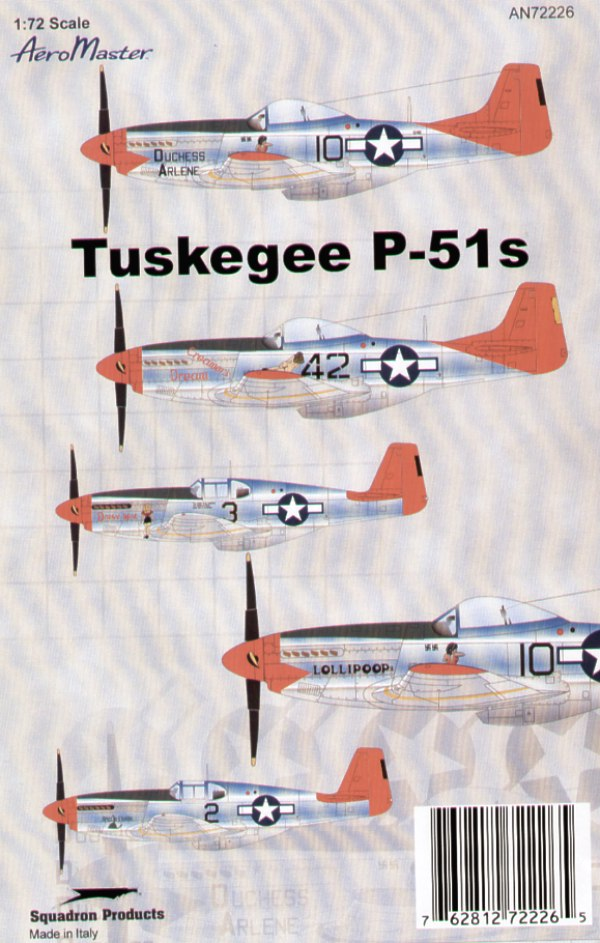Tuskegee P-51C/D (5) C No 3 Capt Woody Crockett `Daisy Mae'; No 2 `Rattlesnake' Both 100th FS; D No 42 1st Lt C. White `Creamer's Dream'; No 10 1st Lt R. Williams `Duchess Arlene' 2 versions. All 301st FS Italy with red tails and spinners
