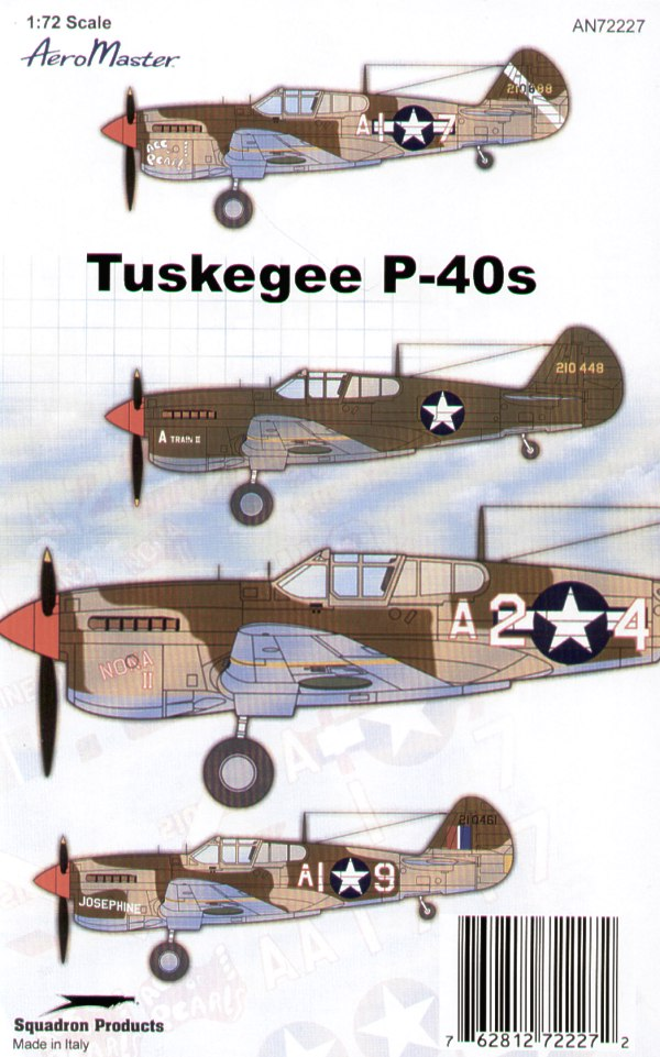 Tuskegee P-40Ls (4) 210448 1st Lt Charles Dryden `A Train'; 210888 AI-7 Herman Lawson `Ace of Pearls'; 210841 A2-4 Alva Temple `Nona II'; AI-9 Charles Bailey `Josephine'; All 99th FS Italy 1943/4