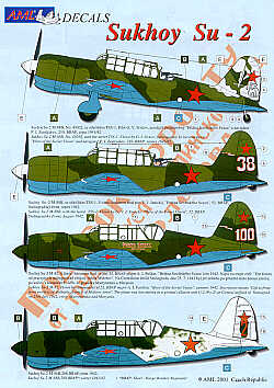 Sukhoi Su-2 (5) White 15; White 38, White 100 all light green/dark green/blue; Red 2 same with white tail; Red 8 grey/blue