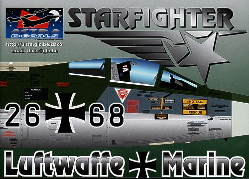 German F-104G Starfighters decals, the most researched decals ever. Containing over 1400 separate decals this set will allow you to make each and every German Starfighter in