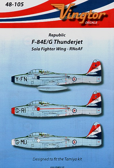 F-84E/G Thunderjet (3) Sola Fighter Wing, R. Norwegian AF. Y-FN Blue nose; G-RI red nose; G-MU white nosey
