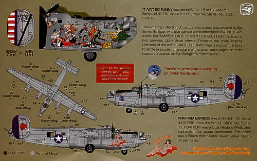 1/72 or 1/48 B-24 Libby Girls Part 4 decal sheet